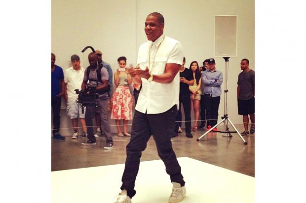 Jay Z taping video for Picasso Baby at Pace Gallery