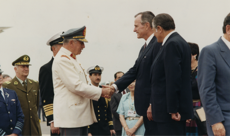 Augusto Pinochet with George H.W. Bush